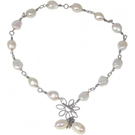 Choker white fresh water pearls and rhodiated agate