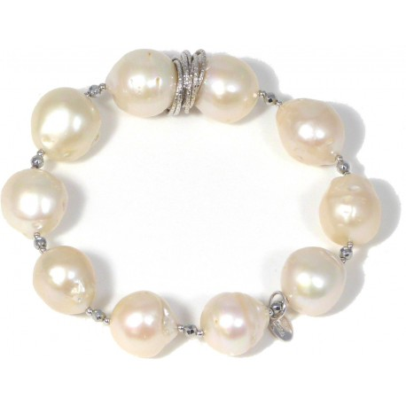 Bracelet white baroque fresh water pearls and rhodiated agate