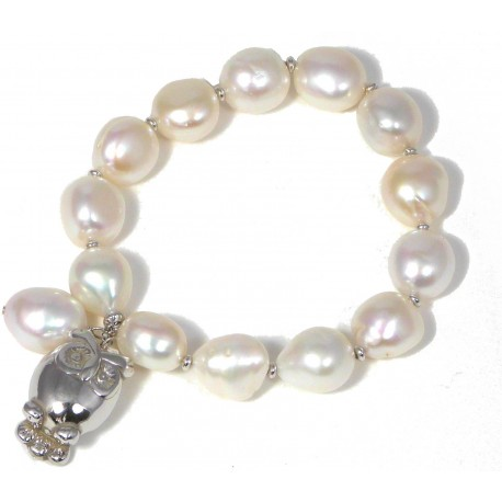 Bracelet fresh water pearls and silver owl