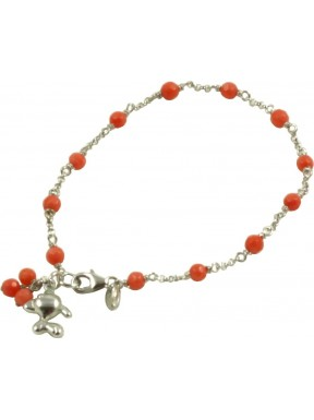 Minimal bracelet with bamboo coral and 925 rhodiated silver chain with a fish shaped pendant