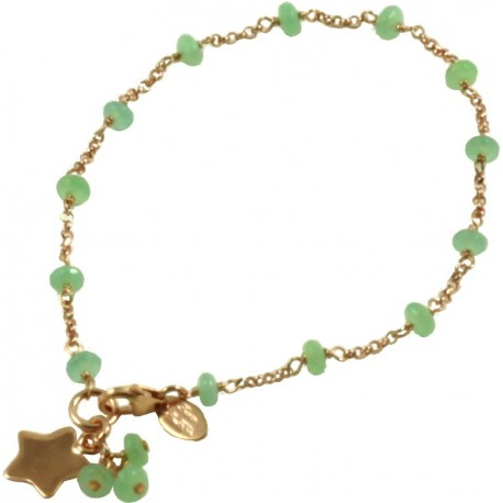 Minimal bracelet with jade and 925 pink golden plated silver chain with a star shaped pendant