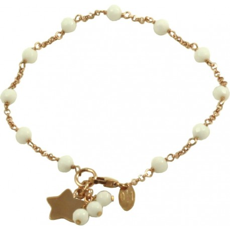Minimal bracelet with white agate and 925 pink golden plated silver chain with a star shaped pendant