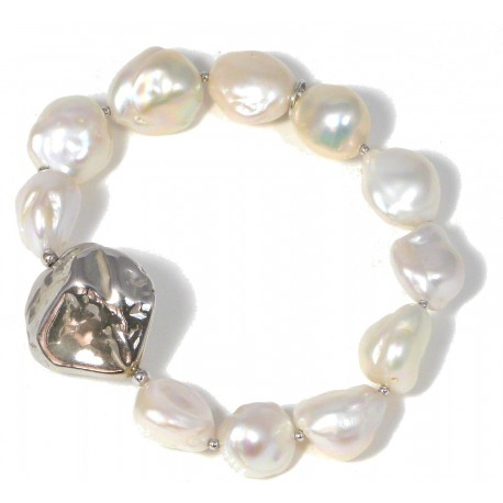 Bracelet fresh water pearls and silver nuggets
