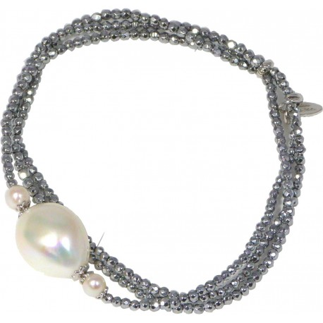 Bracelet rhodiated agate and fresh water pearls