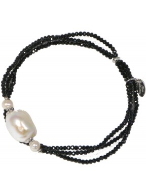 Bracelet black spinel and fresh water pearl