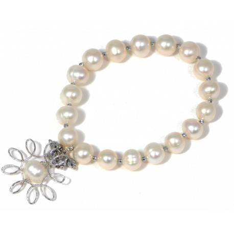 Bracelet fresh water pearls and rhodiated agate with silver flower