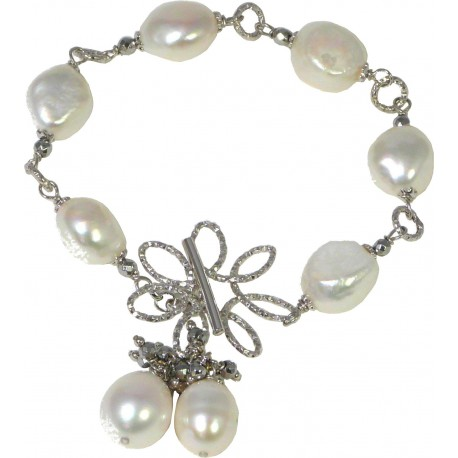 Bracelet white fresh water pearls and rhodiated agate with silver flower