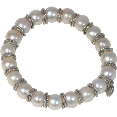 Bracelet white fresh water pearls