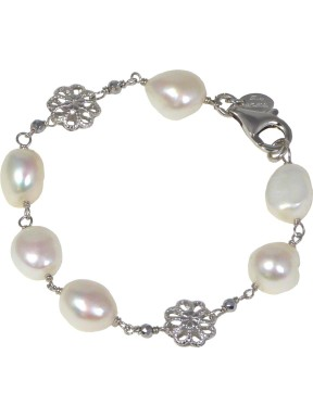 Bracelet white fresh water pearls and rhodiated agate