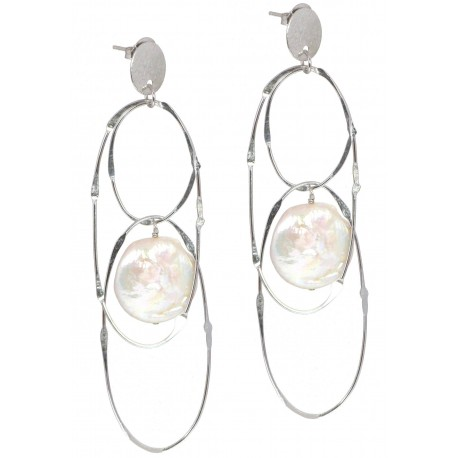 Earrings silver chain and fresh water pearls