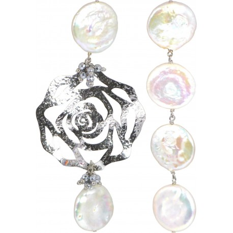 Asymmetric earrings silver rose and fresh water pearls