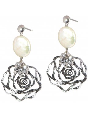 Earrings silver roses and fresh water pearls