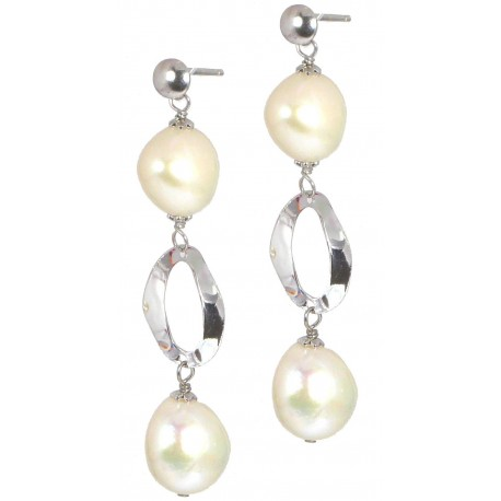 Earrings fresh water pearls and silver ovals