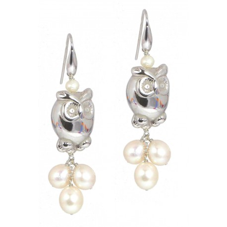 Earrings fresh water pearls and silver owls