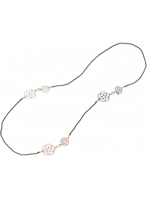 Necklace spinel, fresh water pearls, and rhodiated, black and golden plated silver flowers