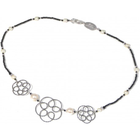 Choker black spinel and black rhodiated silver flowers