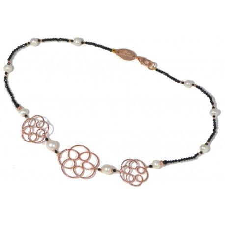Choker black spinel and rose gold silver flowers