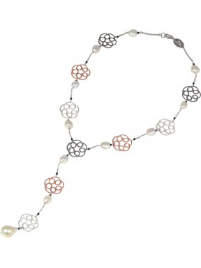 Necklace fresh water pearls, spinel and rhodiated, black and golden plated silver flowers