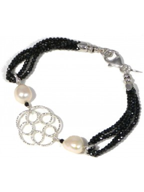 Bracelet black spinel and rhodiated silver flowers