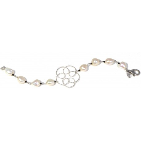 Bracelet white fresh water pearls, black spinel and rhodiated silver flower
