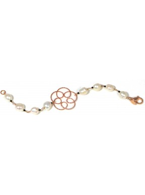 Bracelet white fresh water pearls, black spinel and rose gold silver flower