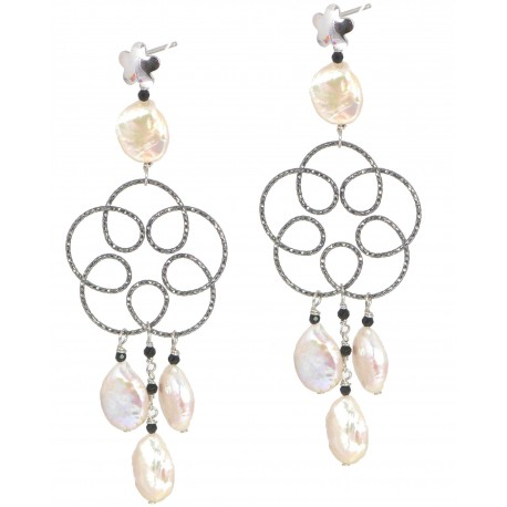 Earrings fresh water pearls, black spinel and black rhodiated silver flower