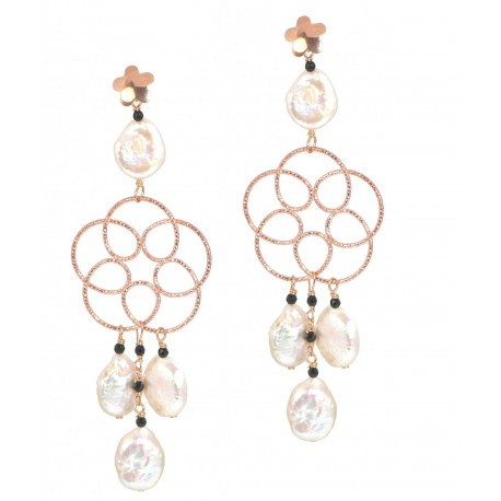 Earrings fresh water pearls, black spinel and rose gold silver flower