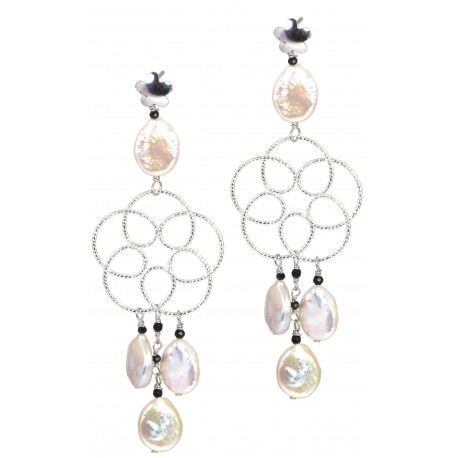 Earrings fresh water pearls, black spinel and rhodiated silver flower