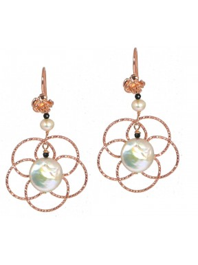 Earrings rose gold silver flowers, fresh water pearls and black spinel