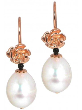Earrings fresh water pearls and black spinel with rose gold silver flowers