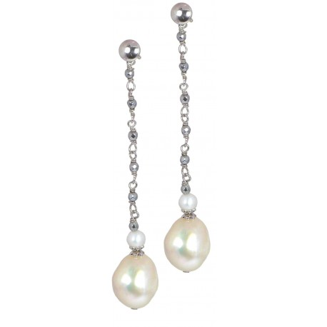 Earrings rhodiated hematite and fresh water pearls