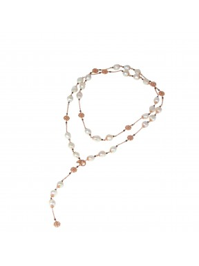 Necklace fresh water pearls and bronze agate