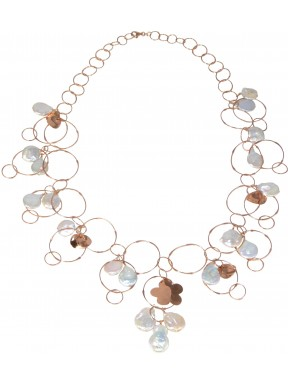 Necklace rose gold silver chain and fresh water pearls