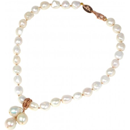 Chokerwhite pearls and rose gold silver