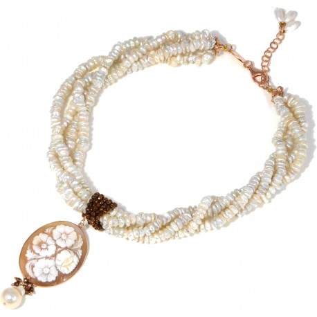 Choker 4 strings fresh water pearls, bronze agate and cameo