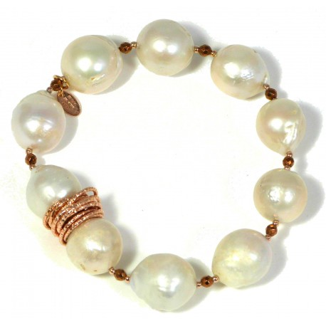 Bracelet baroque fresh water pearls and bronze agate
