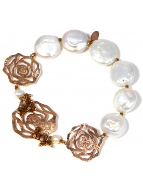 Bracelet fresh water pearls, bronze agate and silver roses