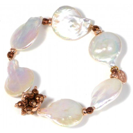 Bracelet fresh water pearls and bronze agate