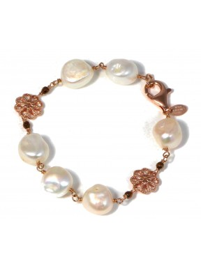 Bracelet fresh water pearls and bronze agate with silver flowers