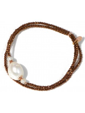 Bracelet bronze agate and fresh water pearls