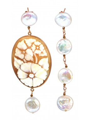 Earrings fresh water pearls, bronze agate and cameo