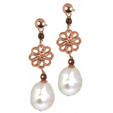Earrings fresh water pearls, bronze agate and silver flowers