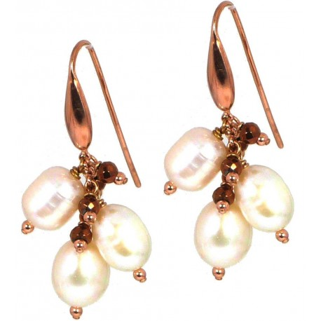Earrings fresh water pearls and bronze agate